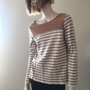 J Crew Breton Stripe Embellished Sweater L